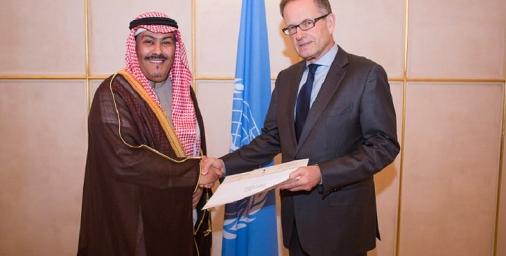 Saudi Arabia's Ambassador Faisal bin Hassan Trad (left) was selected in 2015 to become Chair of the UN Human Rights Council panel on choosing UN rights experts. Mr. Michael Møller (right) is the Acting Director-General of the United Nations Office at Geneva. Photo by Pierre Albouy.