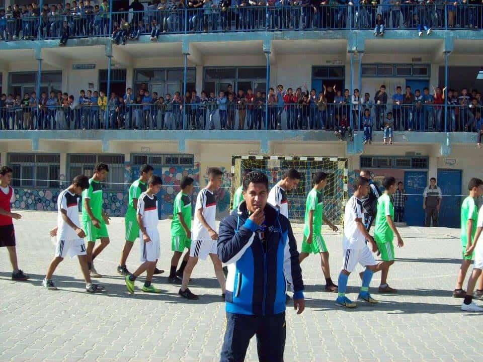 UNRWA teacher Abu in school