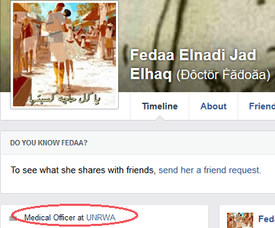 Fedaa Elnadi Jad Elhaq - FB profile UNRWA link