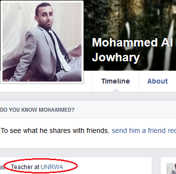 Mohammed Al Jowhary - FB profile UNRWA link