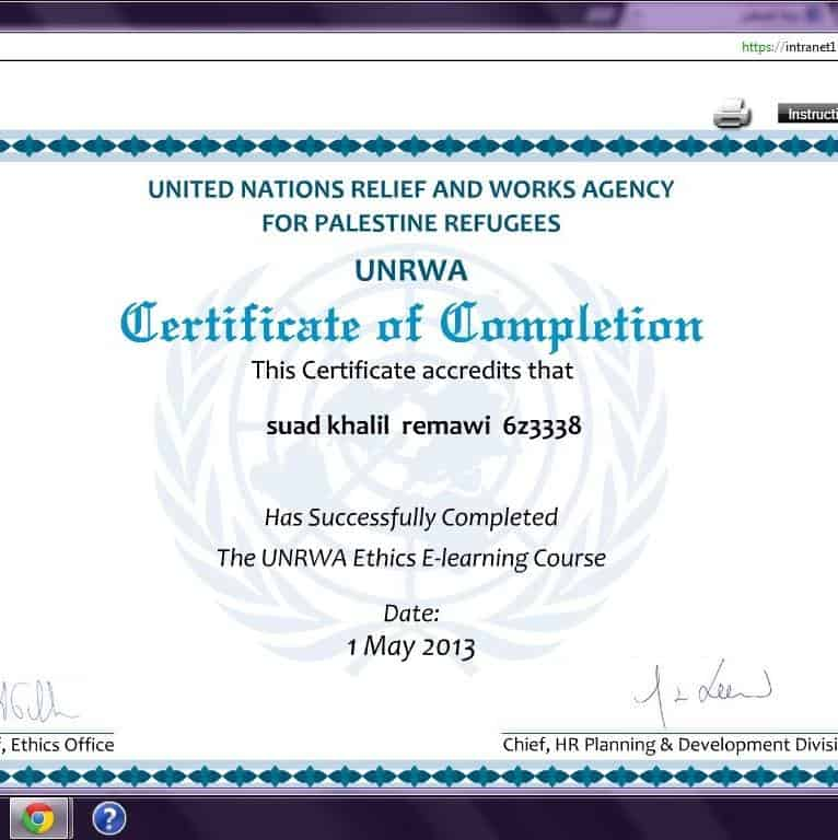 ethics certificate for suad