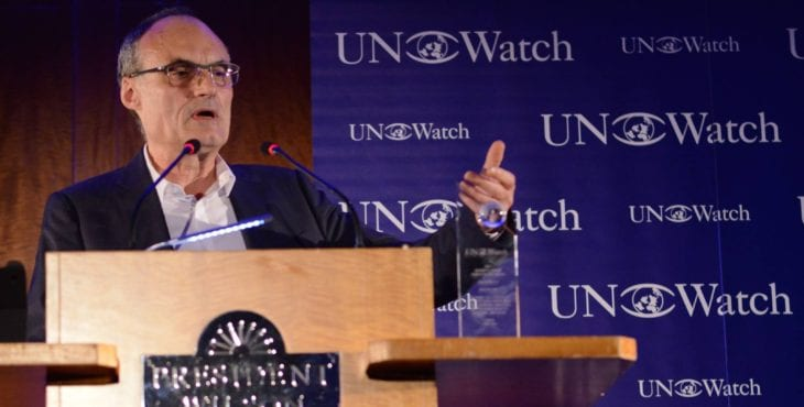 Philippe Val, forme editor of Charlie Hebdo, receiving UN Watch's 2015 Moral Courage Award