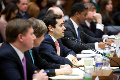 Hillel C. Neuer, executive director of UN Watch, center, testifies before the House Committee on Foreign Affairs on Capitol Hill on Tuesday, January 25, 2011 in Washington, DC.
