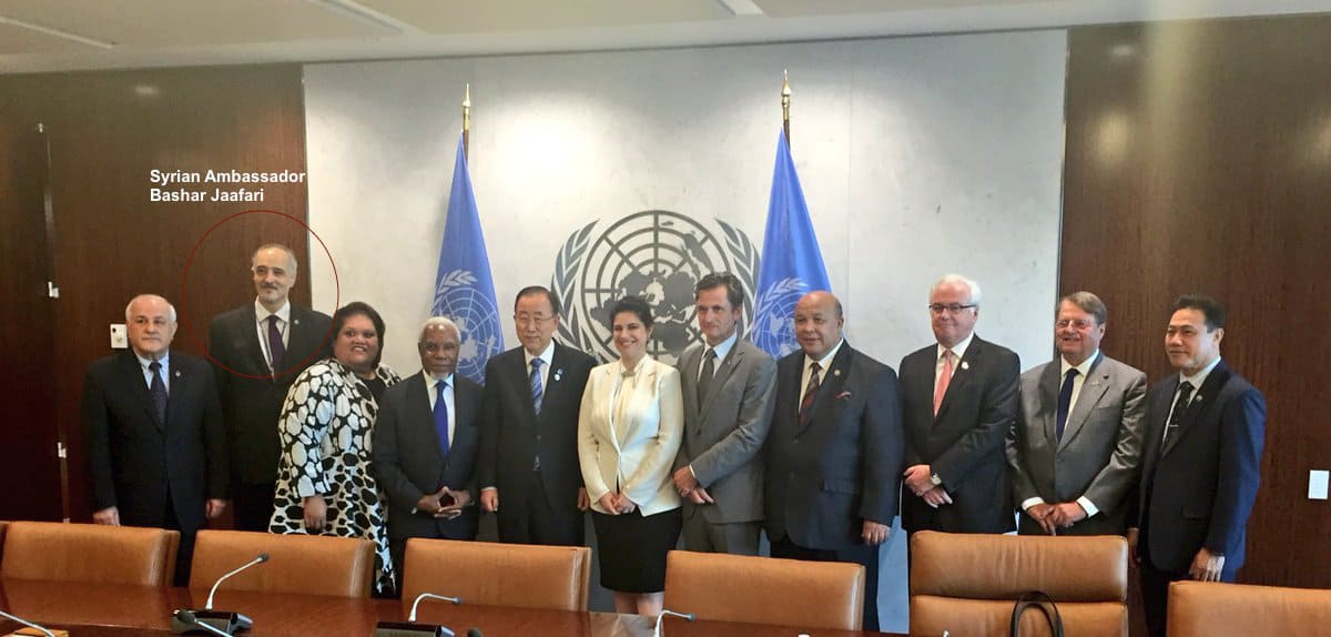 Syrian ambassador Bashar Jaafari together with Ban Ki-moon  and other members of the International Association of Permanent Representatives (IAPR).